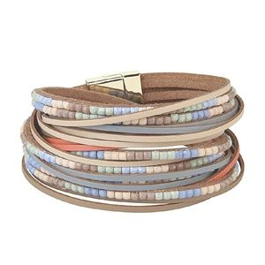 Jewelry - Boho Leather Cuff Bracelet w/Bangle Braided Bands